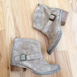 Naughty Monkey Metalicah Gold Leather Ankle Bootie